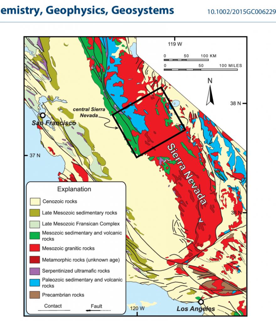 A Simplified Geological Map Showing The Sierra Nevada Mountain Belt - Sierra California Map