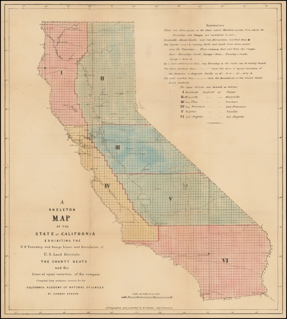 A Skeleton Map Of The State Of California Exhibiting The U.s. - California Township And Range Map