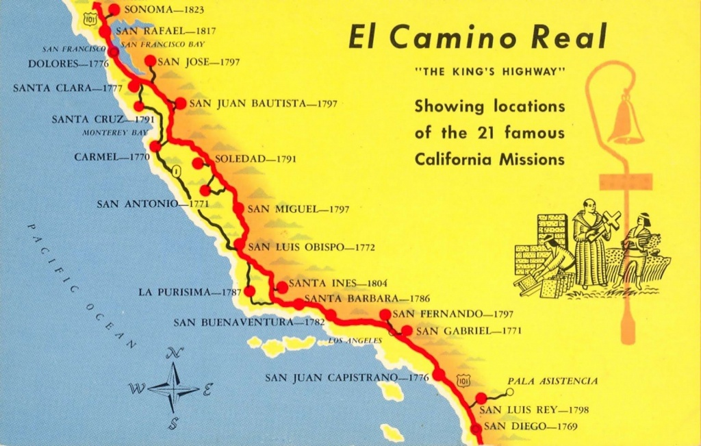 A Trail Map Of Some Of The Amazing Spanish Missions Across - California Missions Map Printable