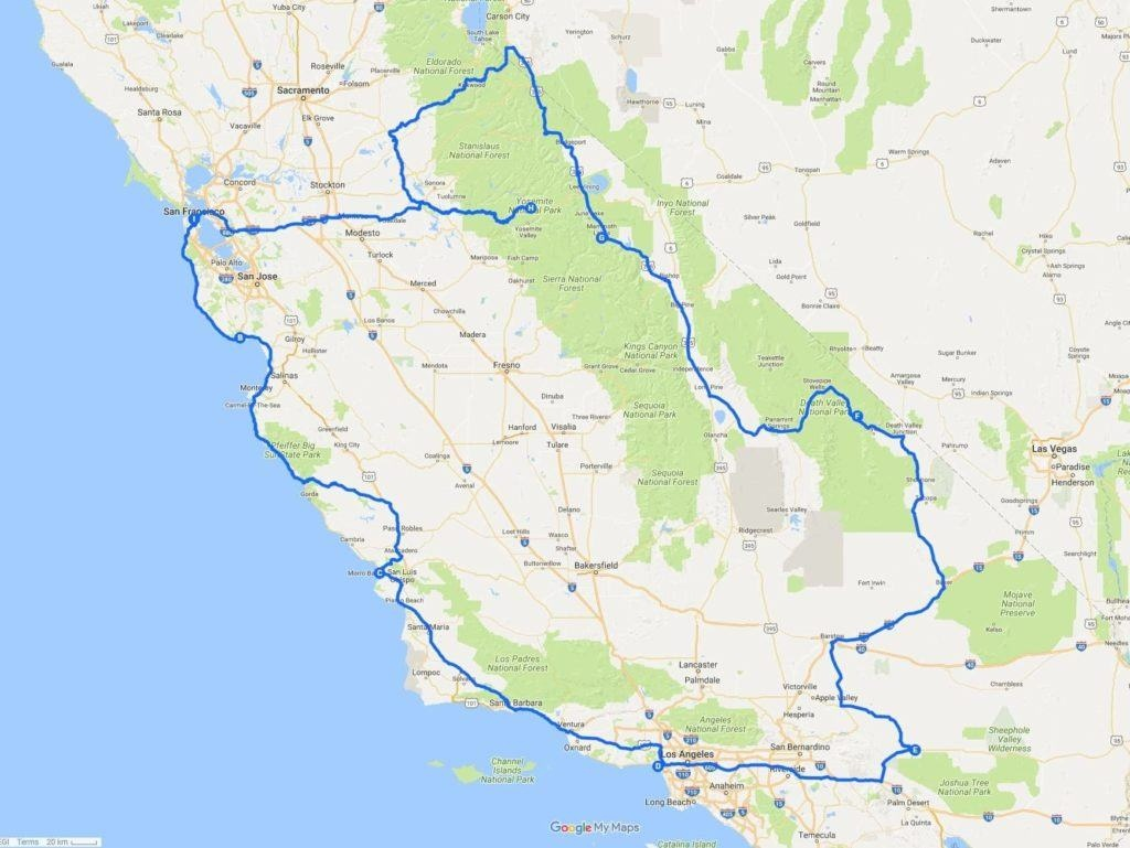 A Two Week California Road Trip Itinerary - Finding The Universe - California Road Trip Trip Planner Map