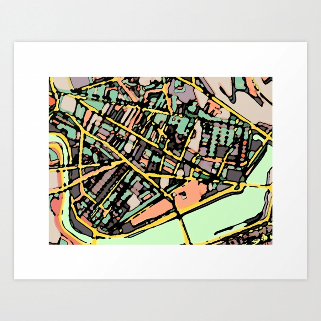 Abstract Map Cambridge Ma Art Printcarlandcartography | Society6 - Printable Map Of Cambridge Ma
