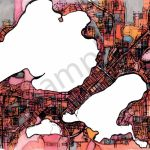 Abstract Map Print – Modern Map Art Of Madison Wi. City Travel Print   Printable Map Of Downtown Madison Wi