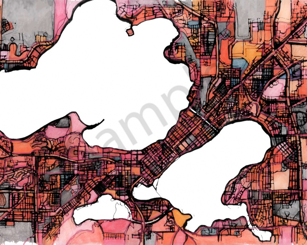 Abstract Map Print – Modern Map Art Of Madison Wi. City Travel Print - Printable Map Of Downtown Madison Wi