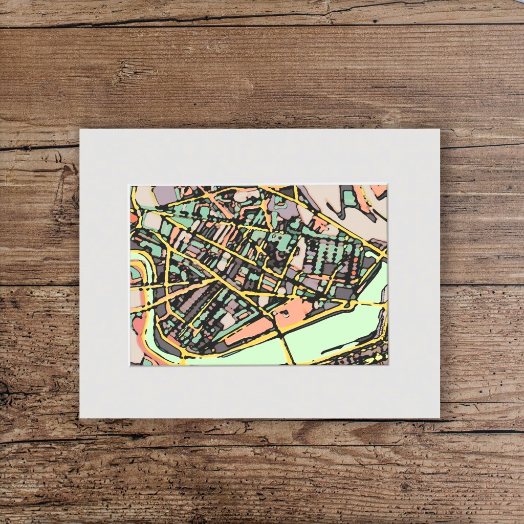 Abstract Map Print Of Cambridge Ma Matted To 11X14 | Etsy - Printable Map Of Cambridge Ma