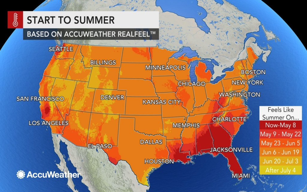 Accuweather 2019 Us Summer Forecast - Florida Weather Map With Temperatures