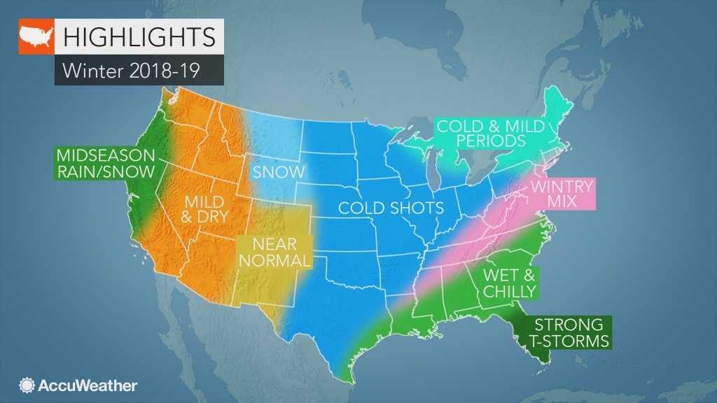Accuweather's Us Winter Forecast For 2018-2019 Season - Texas Weather Map Temps
