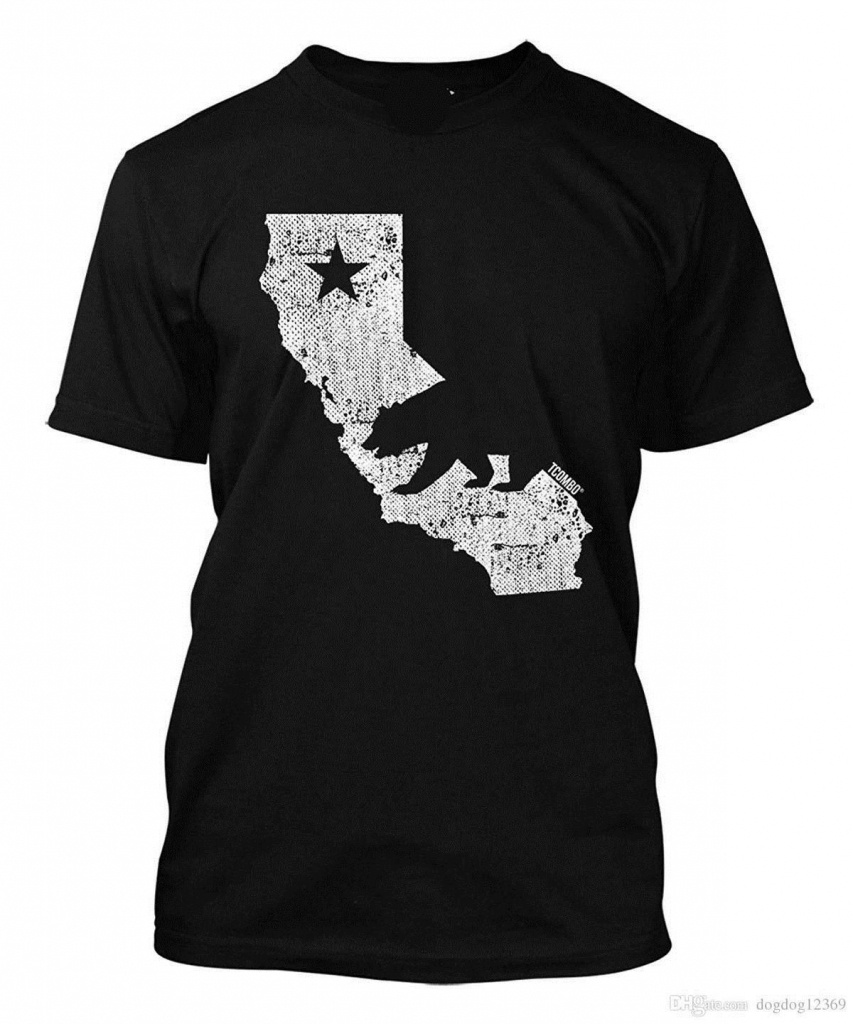Acheter California State Map Tee Shirt Homme De $14.67 Du Jie037 - California Map Shirt