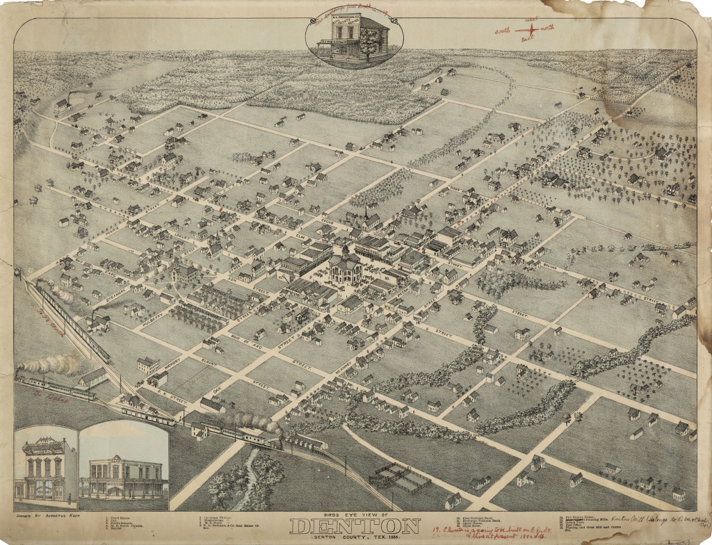 Aerial Map Of Denton, Texas (1883) : Mapporn - Aerial Map Of Texas