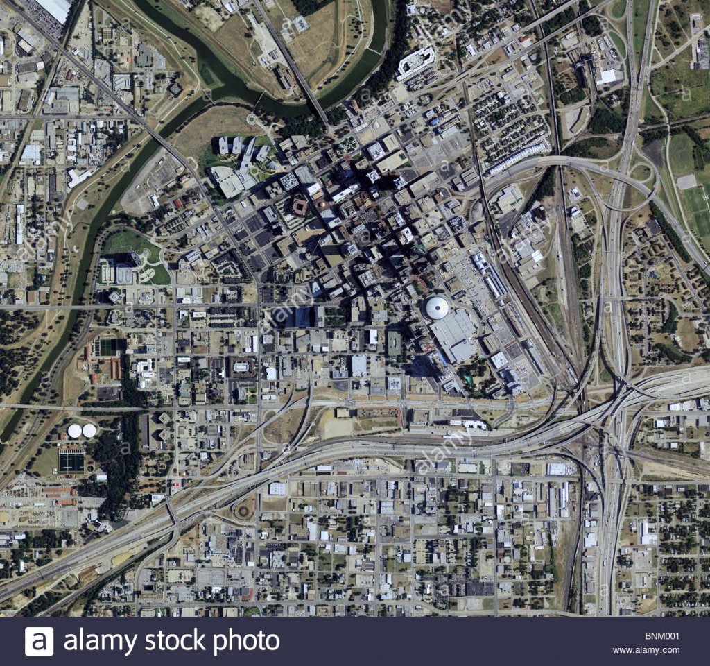 Aerial Map View Above Downtown Fort Worth Texas Stock Photo - Map Of Downtown Fort Worth Texas