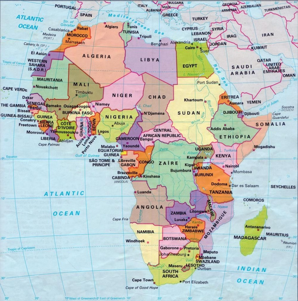 Africa Map Countries And Capitals | Online Maps: Africa Map With - Printable Map Of Africa With Countries And Capitals