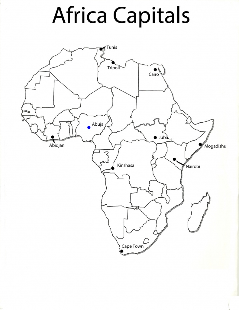 Africa Map With Capitals Printable | Campinglifestyle - Printable Map Of Africa With Capitals