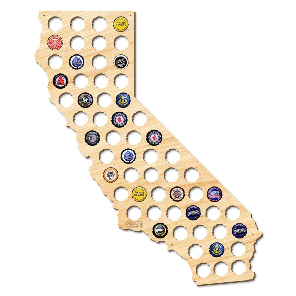 After 5 Workshop 21 In. X 18 In. Large California Beer Cap Map 4719 - California Beer Cap Map
