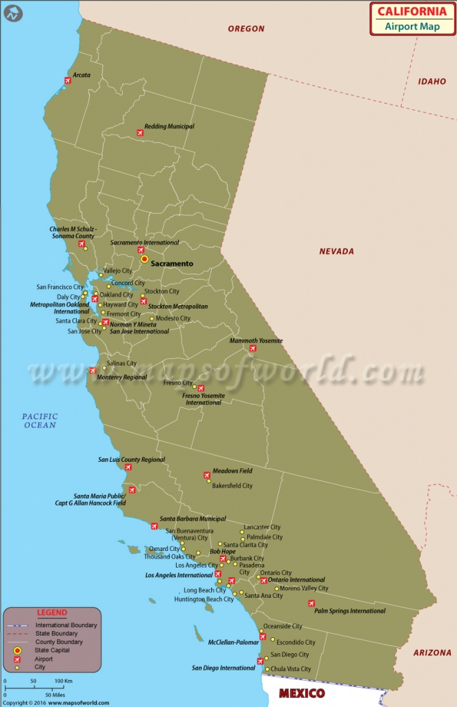 Airports In California | List Of Airports In California - West Palm Beach California Map