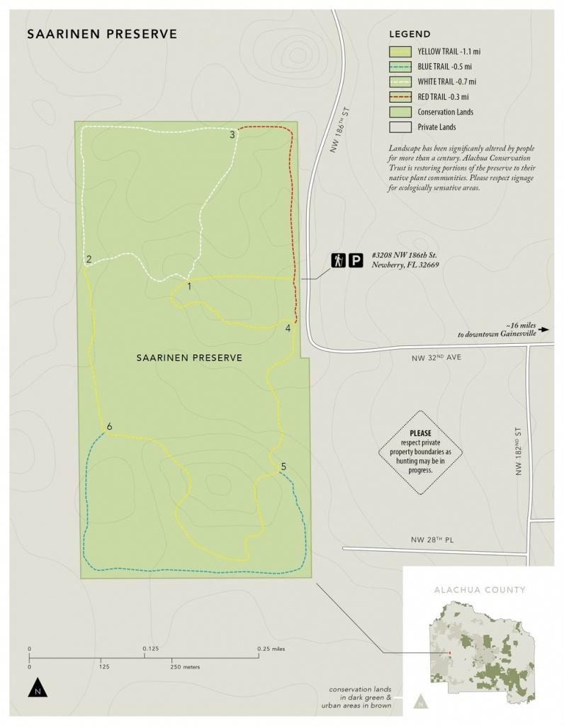 Alachua Conservation Trust — Saarinen Preserve Guide - Newberry Florida Map