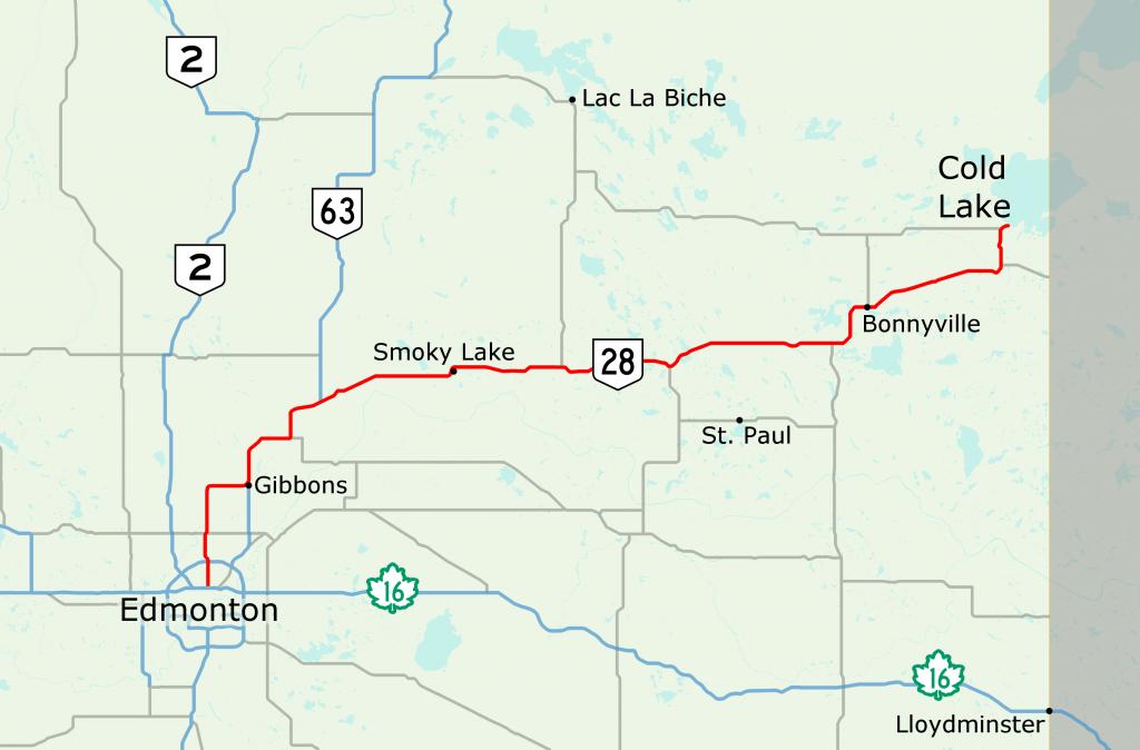 Alberta Highway 28 - Wikipedia - Printable Alberta Road Map