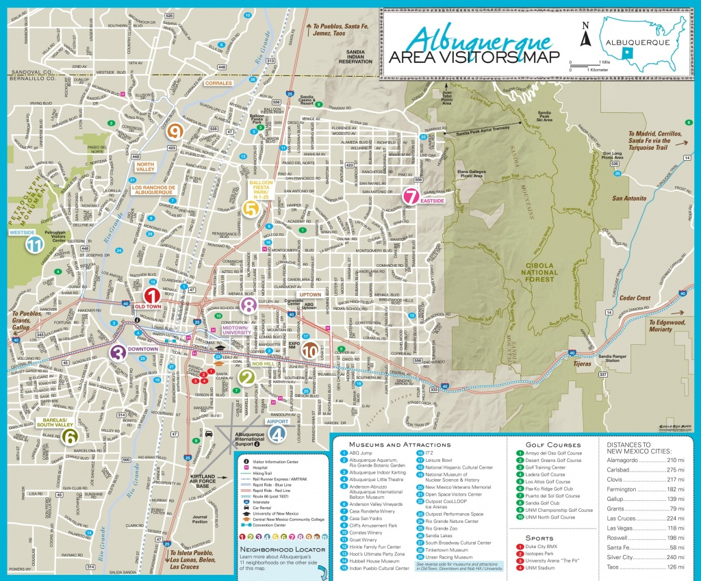 Albuquerque Area Tourist Map - Printable Map Of Albuquerque