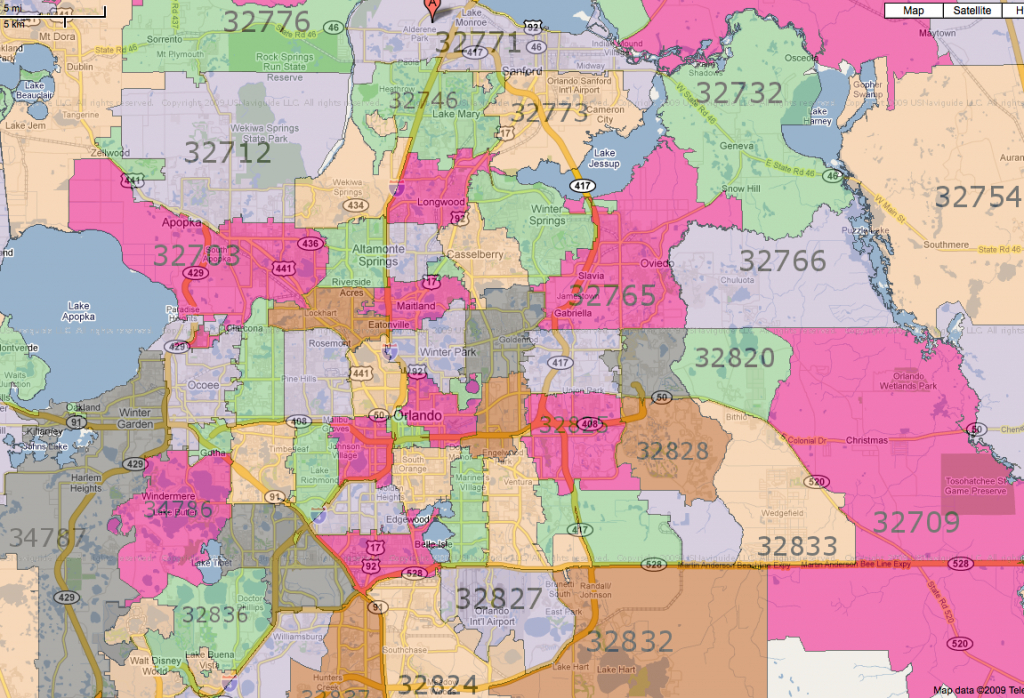 All Orlando Zip Codes   [Map] - Map Of Lake Mary Florida And Surrounding Areas
