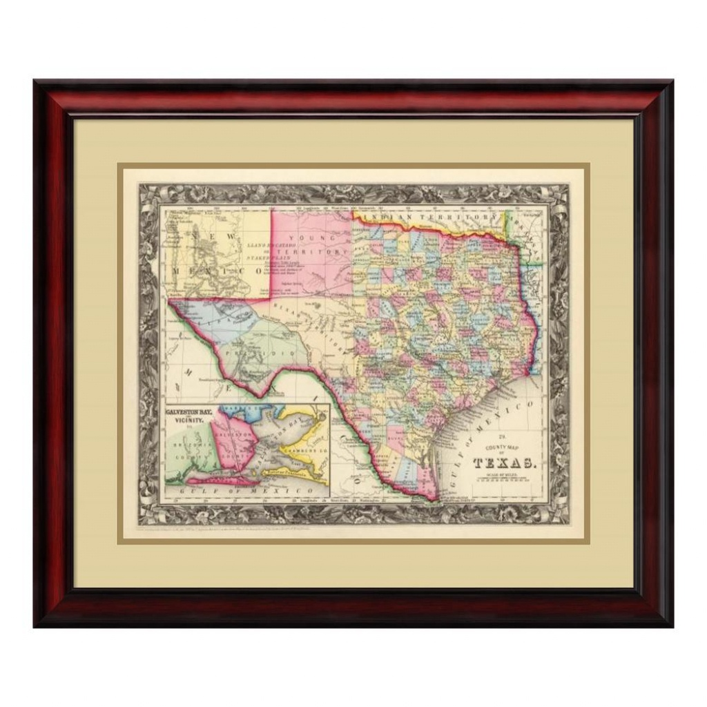 """Amanti Art 26 In. H X 30 In. W """"county Map Of Texas, 1860""""samuel - Framed Texas Map"""
