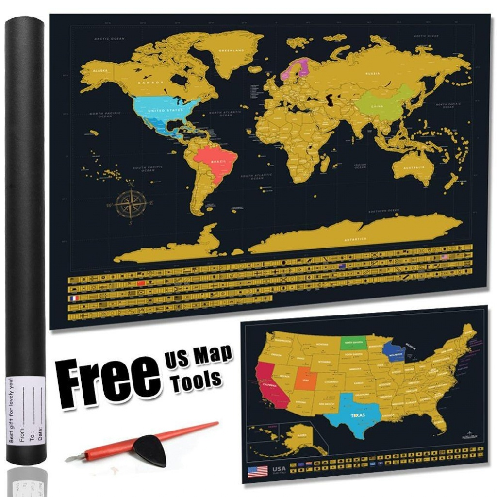 America Map Scratch Off Gold Map Scrape-Off Earth Wall Poster - Texas Scratch Off Map
