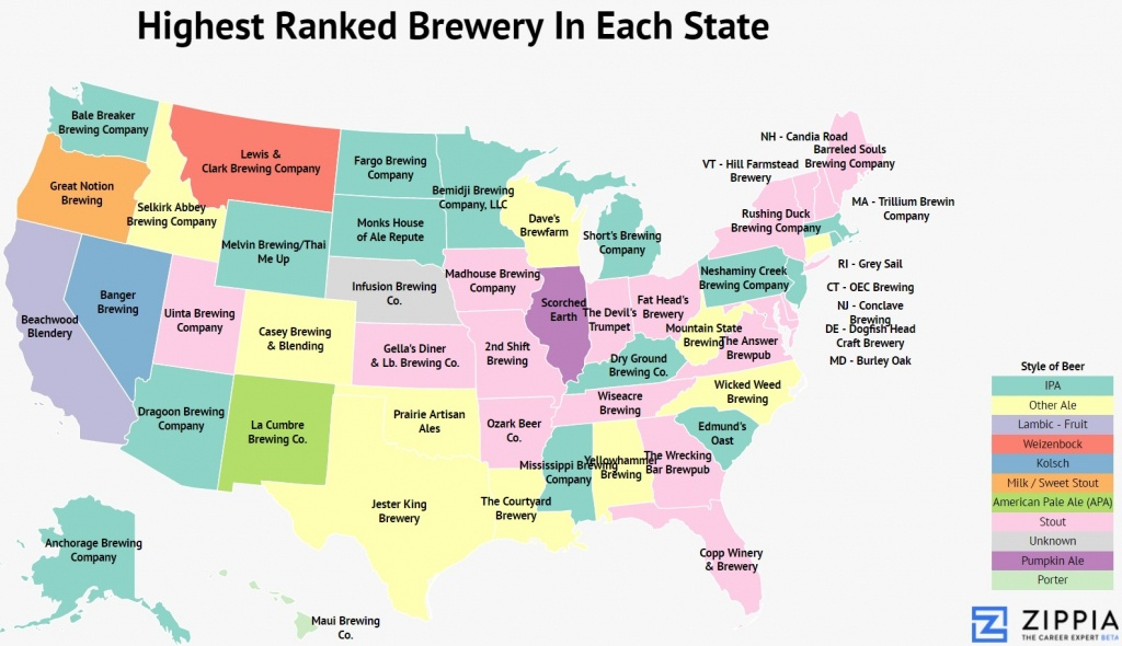 America The Brew-Tiful: Mapping The Best Brewery In Each State - Zippia - Texas Breweries Map
