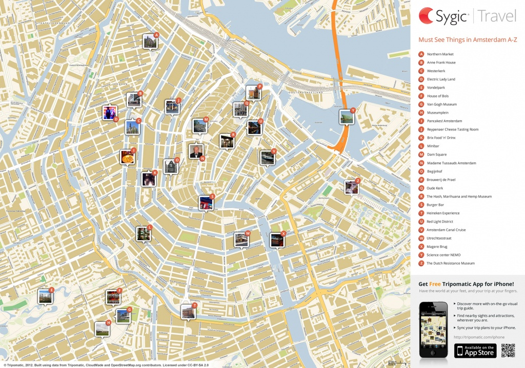 Amsterdam Printable Tourist Map   Sygic Travel - Tourist Map Of Amsterdam Printable