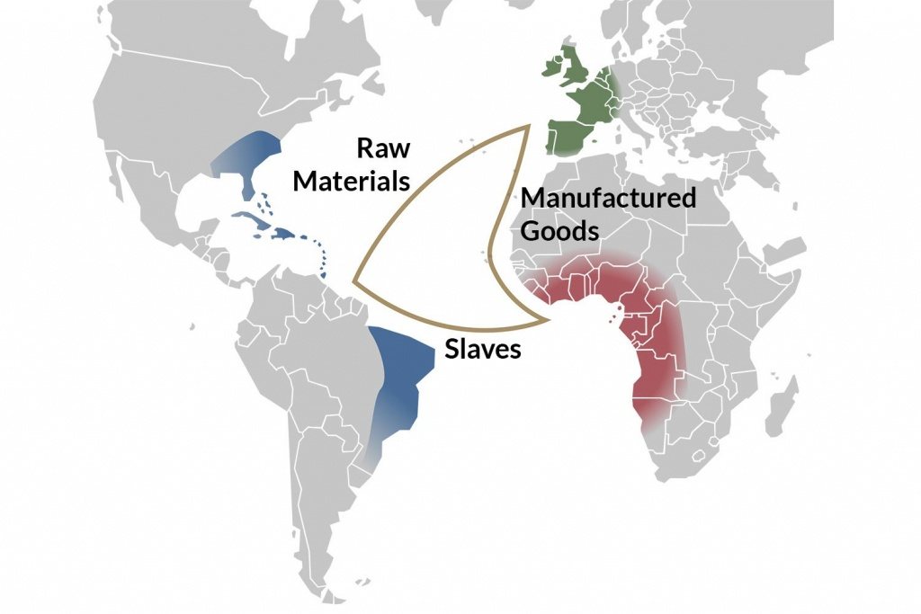 An Overview Of The Trans-Atlantic Slave Trade - Triangular Trade Map Printable