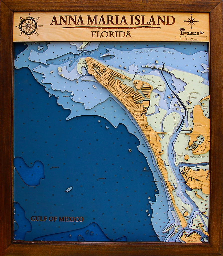 Anna Maria Medium – 7 Layers – 20″ X 24″ | Island Laser Design - Anna Maria Island In Florida Map