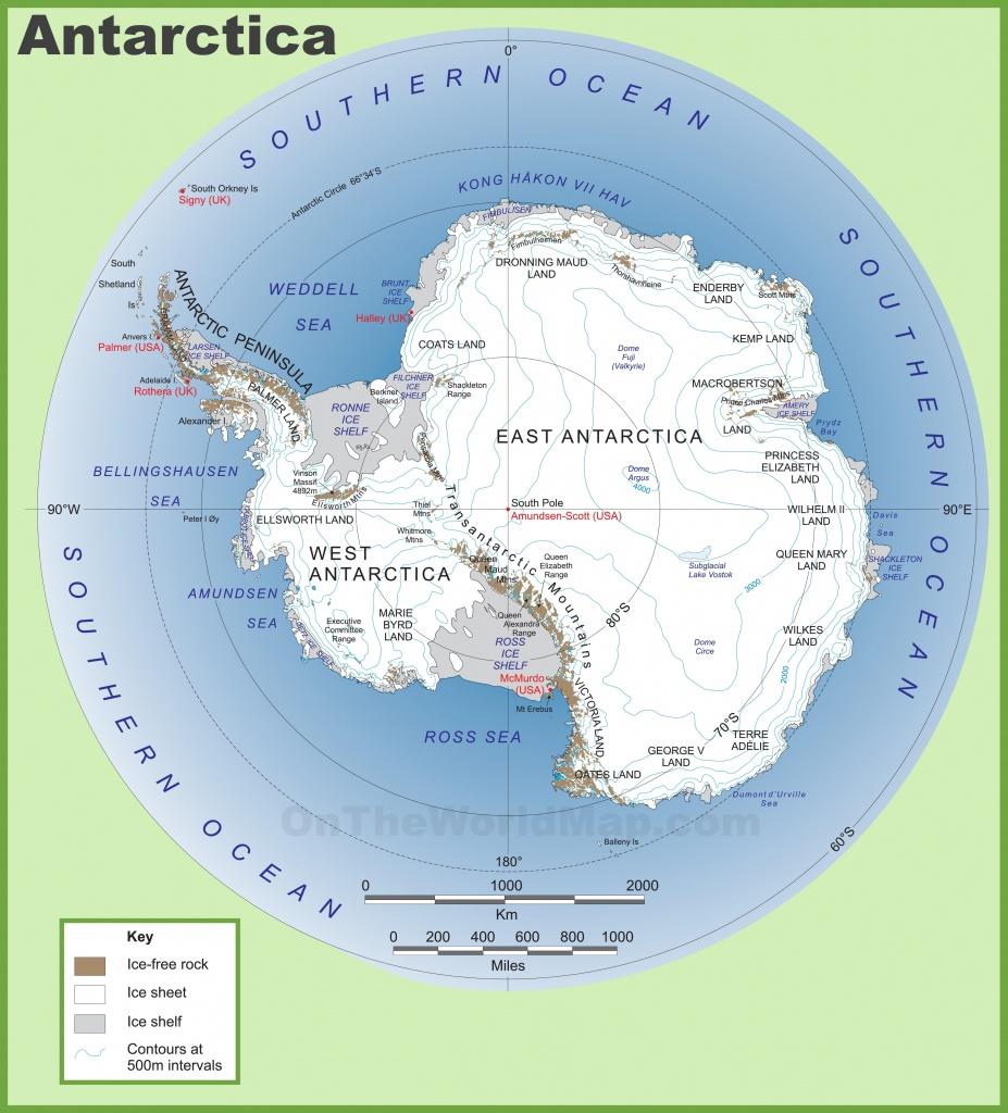 Antarctica Maps | Maps Of Antarctica - Ontheworldmap - Printable Map Of Antarctica