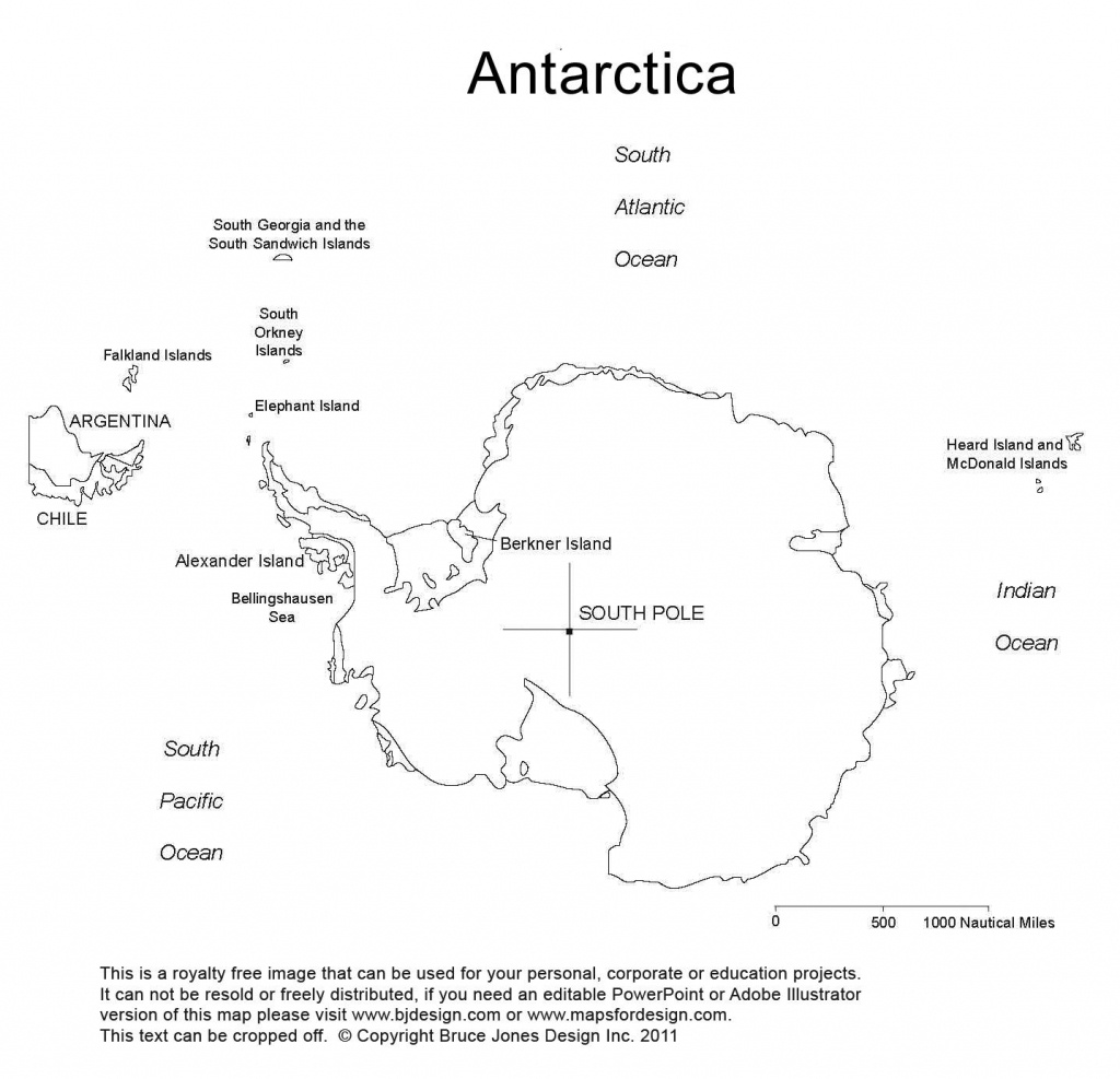Antarctica, South Pole, Blank Printable Map, Outline, World Regional - Printable Map Of Antarctica