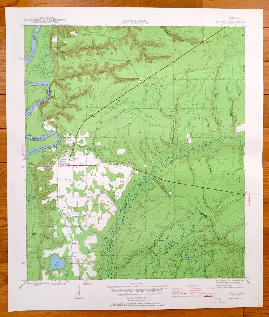 Antique Bristol Florida 1945 Us Geological Survey Topographic   Etsy - Bristol Florida Map