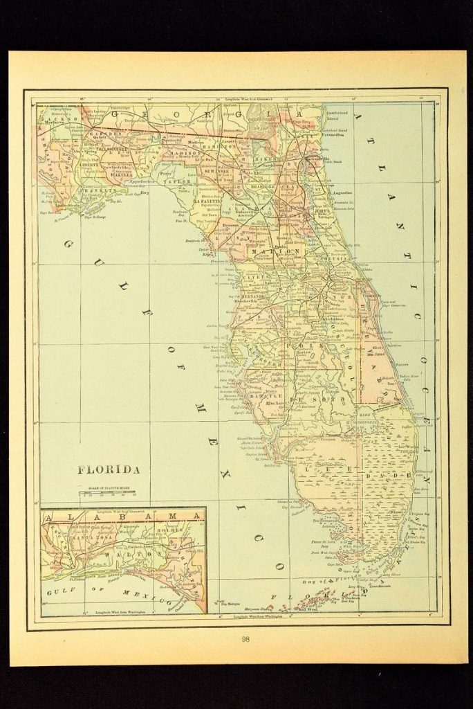 Antique Florida Map Of Florida Wall Decor Art Original Wedding | Etsy - Florida Map Wall Decor