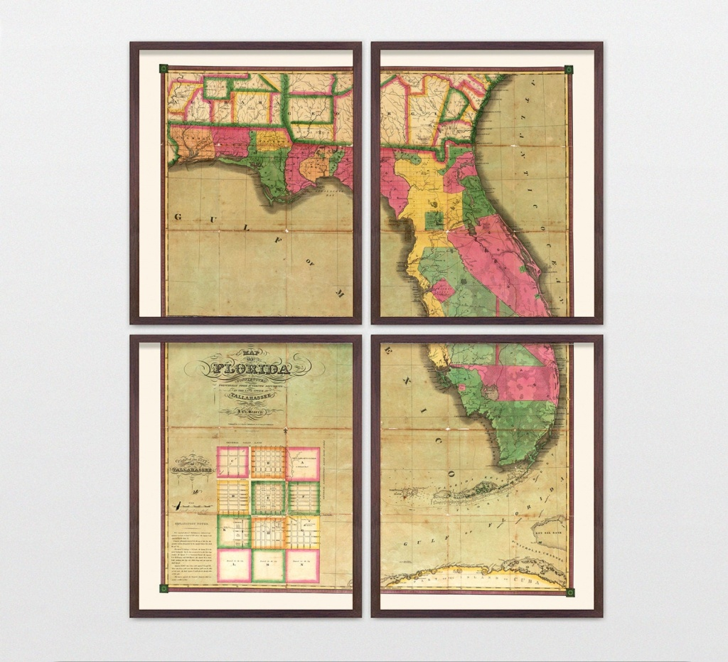 Antique Map - Archival Reproduction - Florida Art - Florida Wall Art - Florida Map Wall Art