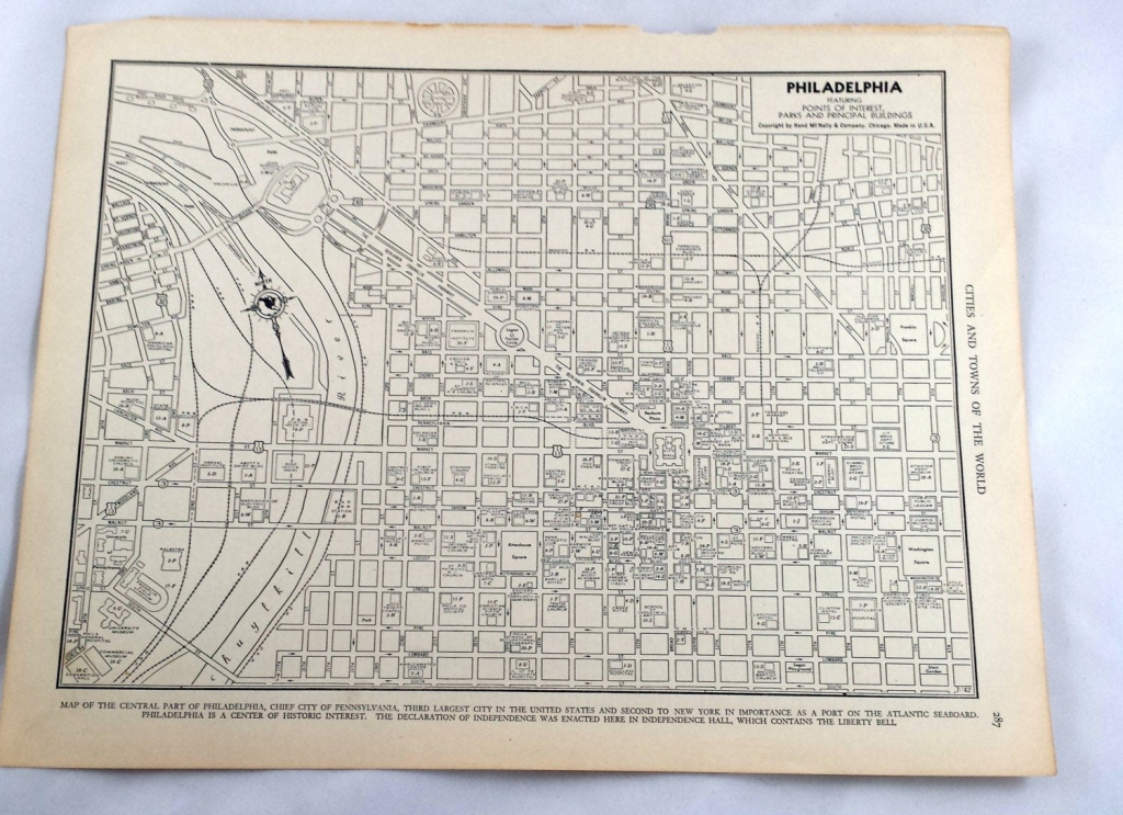 Antique Map Of Philadelphia. City Map. 1937 Historical Print | Etsy - Printable Map Of Historic Philadelphia