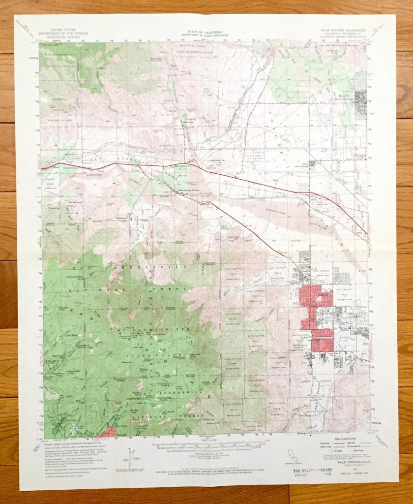 Antique Palm Springs, California 1957 Us Geological Survey Topographic Map  – Coachella Valley, Desert Hot Springs, San Bernardino, Riverside - Map Of Palm Springs California And Surrounding Area
