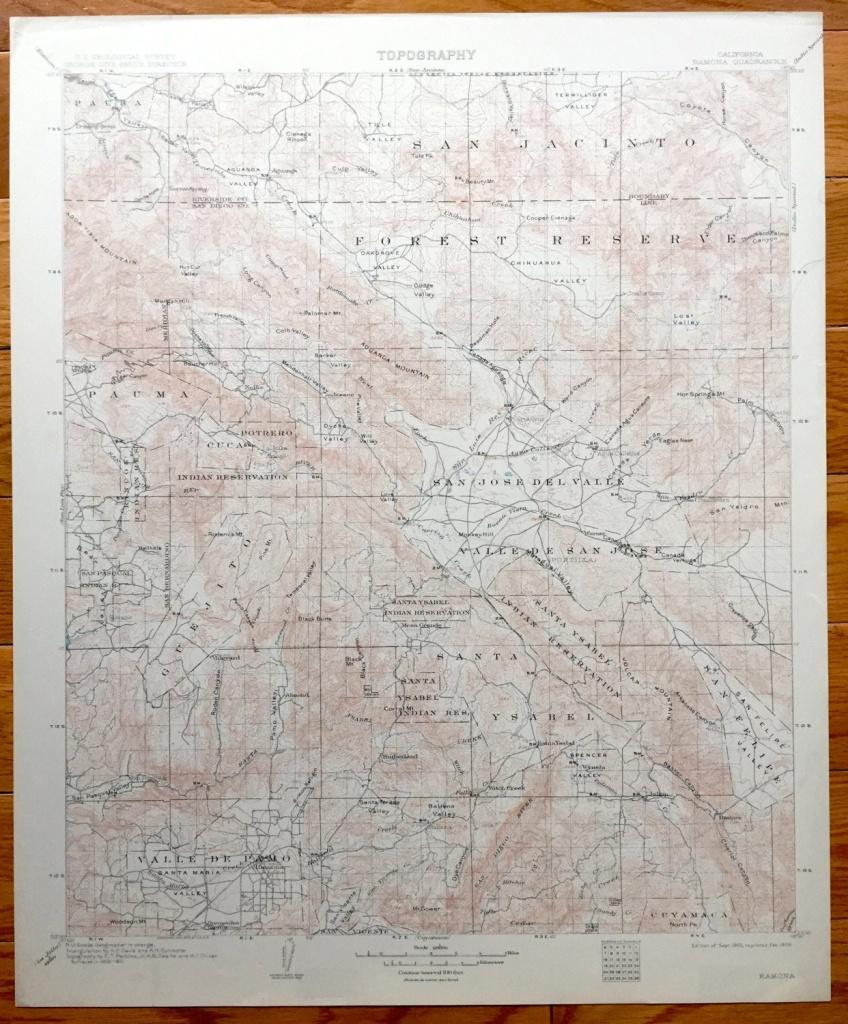Antique Ramona California 1903 Us Geological Survey | Etsy - Ramona California Map