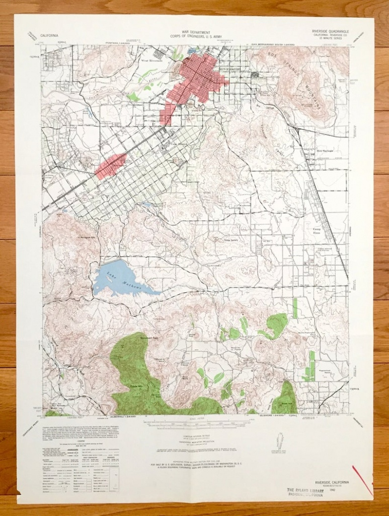 Antique Riverside California 1942 Us Geological Survey   Etsy - Printable Map Of Riverside County