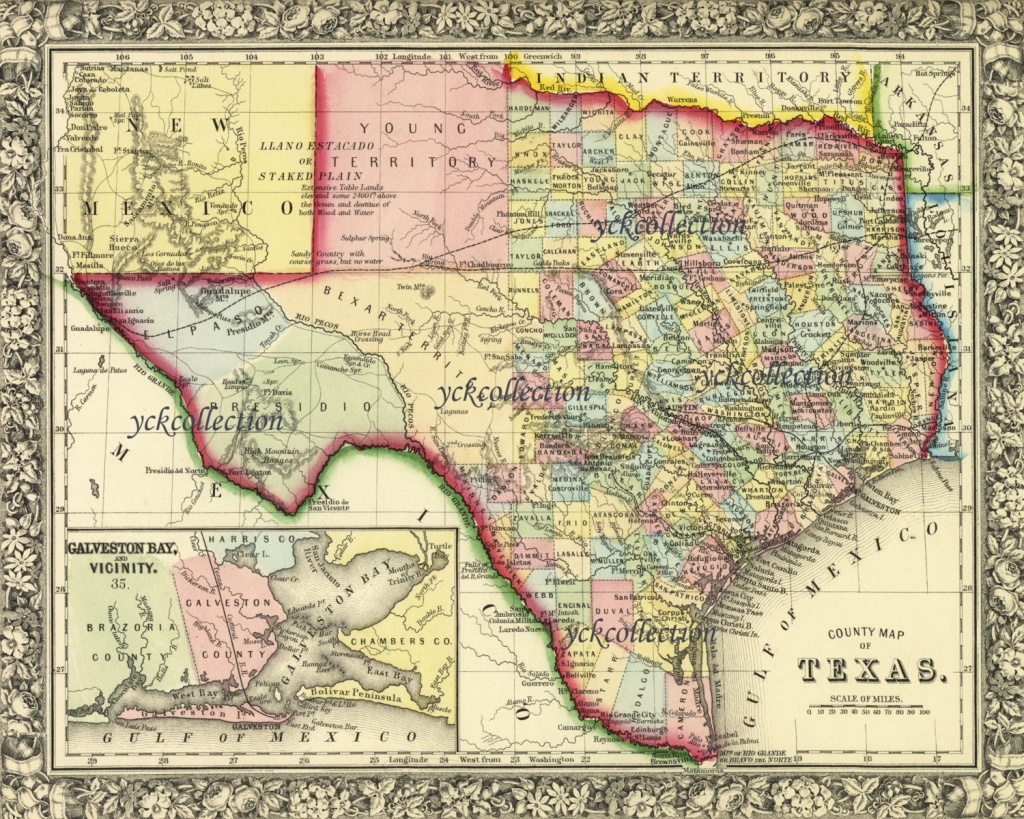 Antique Texas Map 1863 8 X 10 To 28 X 36 Pixels | Etsy - Antique Texas Map