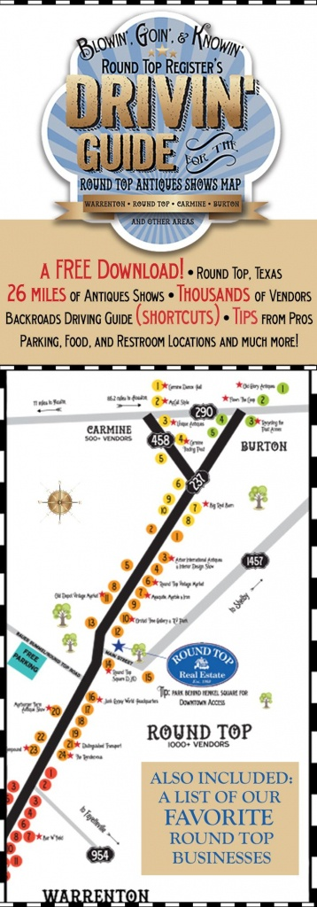 Antiques Show Map - Round Top Register | Thrifty Destinations - Round Top Texas Map