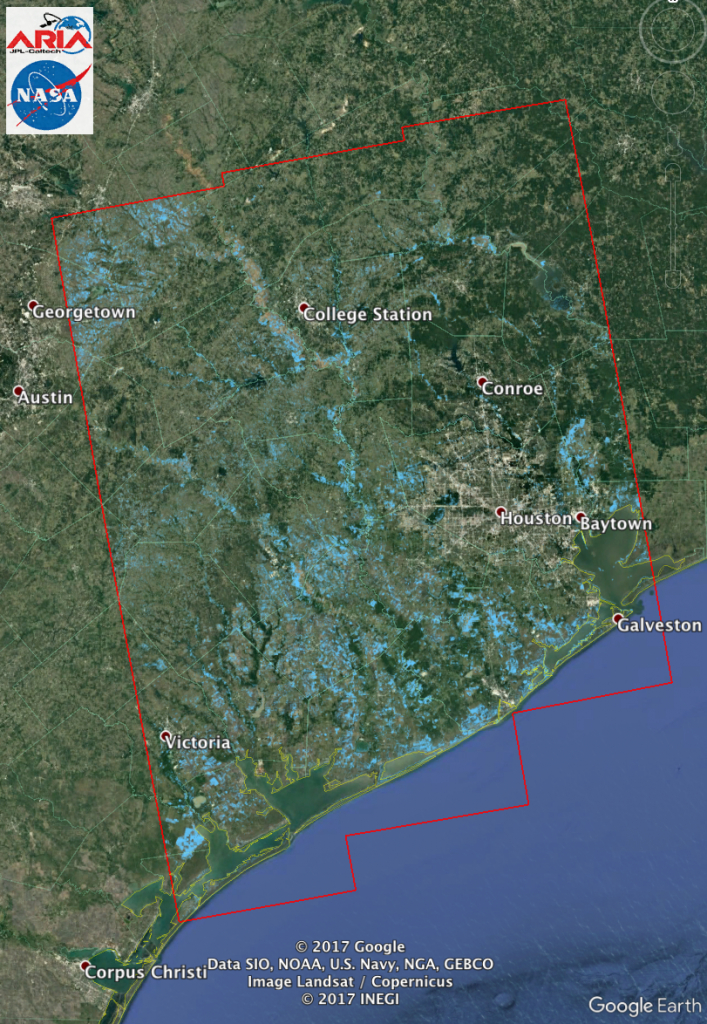 Aria Flood Extent Map Of Harvey From Sentinel-1 Sar Data | Nasa - Map Of Flooded Areas In Texas