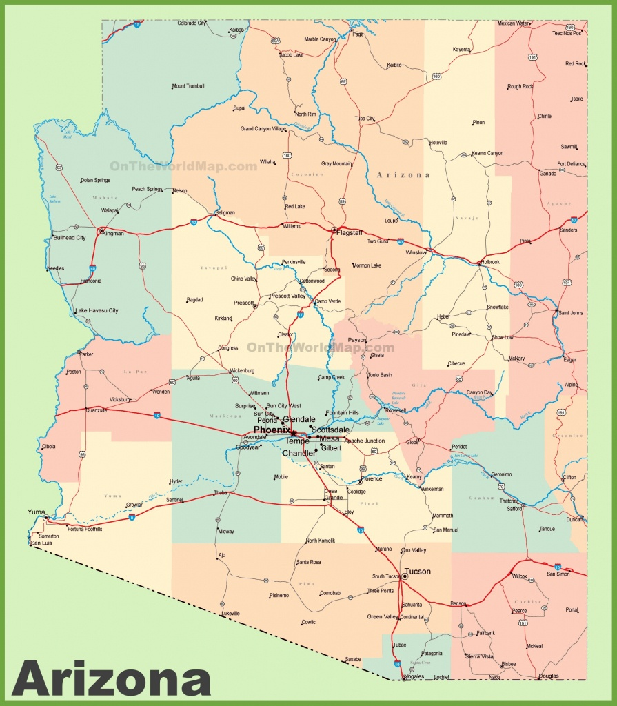 Arizona Road Map With Cities And Towns - Printable Map Of Arizona