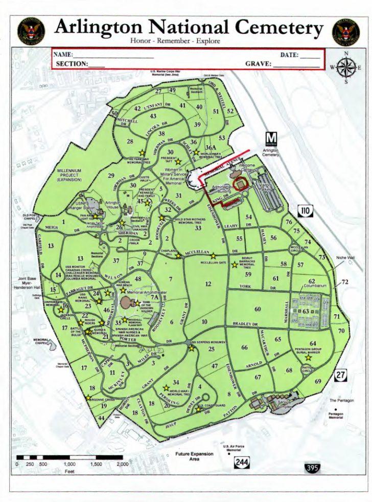 Arlington Cemetery Printable Map