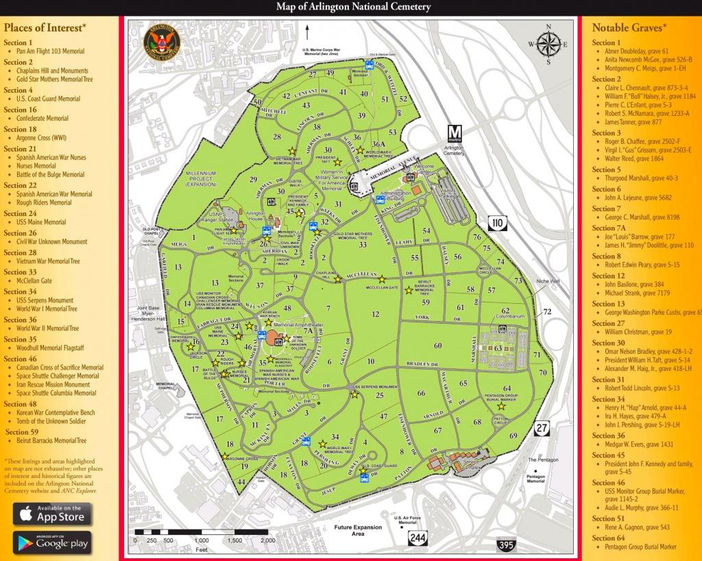Arlington National Cemetery Map - Printable Map Of Arlington National Cemetery