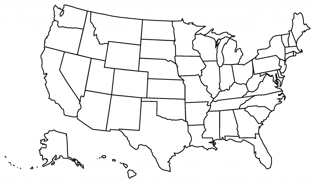 At Clipart Of United States Map The Us Black And White Printable - Blank Us State Map Printable