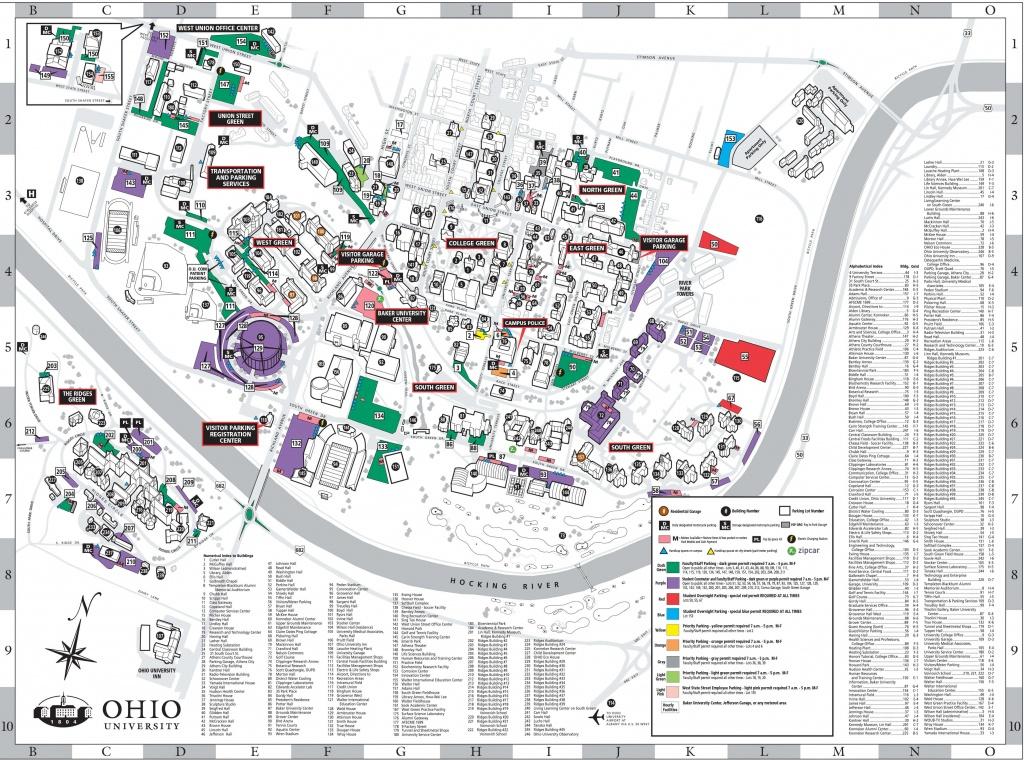 Athens Campus Parking Map   Ohio University - Ohio State Map Printable
