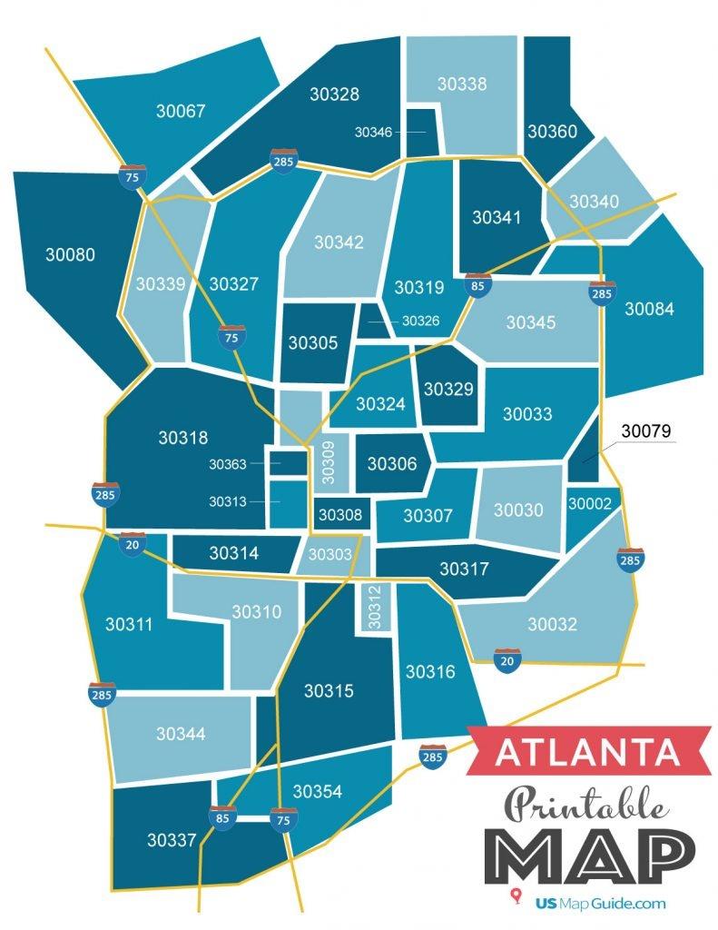 Atlanta Ga Zip Code Map [Updated 2019] - Atlanta Zip Code Map Printable