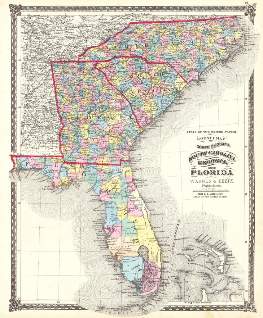Atlas Of The United States. County Map Of North Carolina, South - Florida North Map