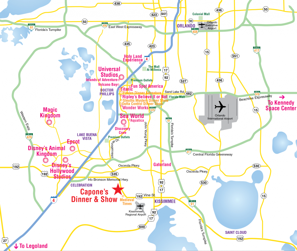 Attractions Map : Orlando Area Theme Park Map : Alcapones - Florida Theme Parks On A Map