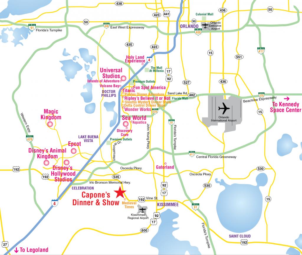 Attractions Map : Orlando Area Theme Park Map : Alcapones - Road Map To Orlando Florida