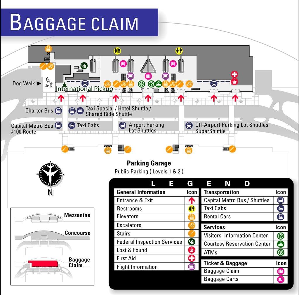 Austin-Bergstrom International Airport (Aus) - Maplets - Austin Texas Airport Terminal Map
