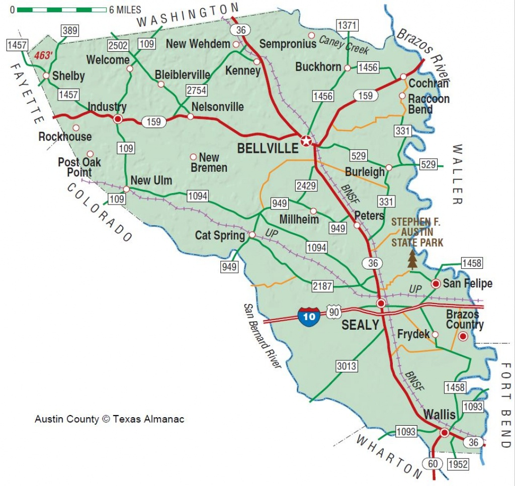 Austin County | The Handbook Of Texas Online| Texas State Historical - Sealy Texas Map